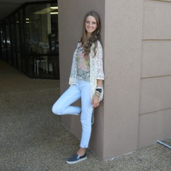 """Get back to school in """"Boho Chic!"""" We love this lace kimono combined with our geometric tank. Skinny jeans and vans are a great way to complete this look. We would love this with jean shorts, skinnies, or a maxi-skirt too!"""